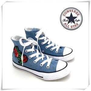 Converse Rose Embroidered Denim High Top Sneakers